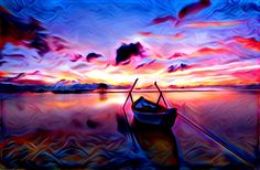 Sunset | Created with Painnt app | Filter > Smooth. Painnt uses neural networks to generate gorgeous artwork from your Camera roll. #trippy #digitalart #sea #boat