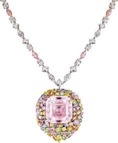 Square-emerald-cut Fancy Light Pink diamond accented by seventy-three multi-colored diamonds