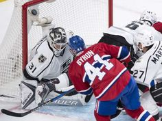 Montreal Canadiens' Paul Byron scores past Los Angeles Kings goalie Peter Budaj during first period NHL hockey action Thursday, November 2016 in Montreal. First Period, Los Angeles Kings, Montreal Canadiens, Scores, Nhl, Football Helmets, Thursday, Hockey, November