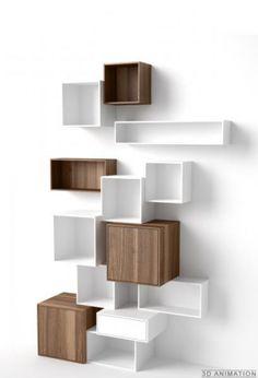 Modular shelf / contemporary / MDF / for professional use Cubit-Regal Weiß-Walnuss Mymito GmbH Cubit Etagere Cube, Home Furniture, Furniture Design, Rustic Furniture, Etagere Design, Regal Design, Modern Bookcase, Shelf Design, Deco Design