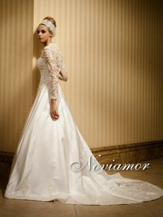 noviamor lace wedding dress, wedding gowns 2013, bridal dresses, long sleeves wedding gowns, floral lace