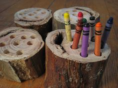 This would be a fantastic way to store crayons and pencils. It would be so much fun for the children to pack away. Can be sourced from trees that have been cut down from the gardens of neighbors or families that attend the centre. Can be used for  sorting of different items experience