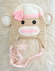 Crochet pink sock monkey animal beanie hat with by Skylightz, $15.00