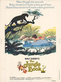 The Jungle Book is one of Disney's classics: they took a beloved book and made it into an even more loved film. The Jungle Book is the story of a young boy named Mowgli lost and raised in the jungle by a cast of Walt Disney Movies, Disney Movie Posters, Film Disney, Classic Movie Posters, Classic Disney Movies, Old Movie Posters, Retro Posters, The Jungle Book, Disney Jungle Book