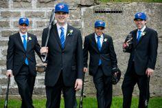 Baseball Themed Wedding Blue Jays, groomsmen with bats, baseball hats, gloves, baseball gloves for wedding party
