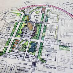 Landscape And Urbanism, Landscape Design Plans, Landscape Concept, Landscape Drawings, Landscape Photos, Plaza Design, Plan Sketch, Architecture Plan, Urban Planning
