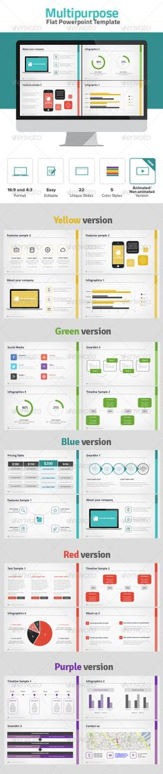 Modern and simple Powerpoint Presentation Template with flat elements. All slides are fully editable. Easy to change colors, text, photos etc. Perfect for business, corporate and personal use. DOWNLOAD: http://graphicriver.net/item/multipurpose-flat-powerpoint/6752463?ref=iDny ★ ★ ★ ★ ★ #flatdesign #webdesign #powerpointtemplates #powerpointpresentation #powerpointdesign  #infographic