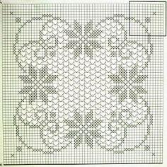O) Filet crochet table cloth Filet Crochet Charts, Crochet Motifs, Crochet Borders, Crochet Cross, Thread Crochet, Doily Patterns, Cross Stitch Patterns, Crochet Patterns, Crochet Decoration