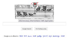 "Google Doodle.  ""101st Anniversary of the First Electric ‪#‎TrafficSignalSystem‬""  Follow Traffic Rules and Stay Safe - Shakti Motors  ‪#‎RoadSafety‬"