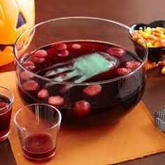 Halloween candy apple punch with a hand 6 cups cranberry-apple drink  3 cups water  15 hard cinnamon candies  1 (6-ounce) can thawed limeade concentrate undiluted  Combine all together. Add hand and serve For the hand Using a plastic glove fill with water and use a rubber band to tightly tie the end of the hand. Freeze for at least 8 hours. Lay flat in the freezer. When done cut the glove off of the ice and add to punch. Come join our free 5 day challenge feel better in 5 days and lose a few…