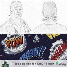 Limited Edition: Green Scrubs - Tieback Hat - Super Hero Words