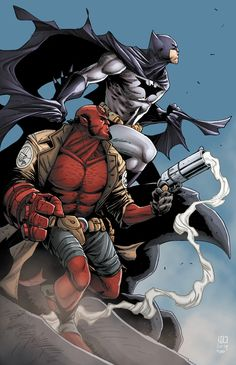 Bat Man & Hellboy by Ross Hughes