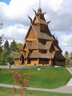 Replica of the c. 1250 stavkirke (stave church) at Gol, Hallingdal, Norway, Heritage Park, Minot, North Dakota.
