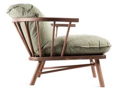 This Shaker inspired lounge chair was made by a traditional furniture maker in Delaware. The contrast of the reclaimed shelter half army canvas gives a modern twist to this traditional chair. Shaker Furniture, Walnut Furniture, Design Furniture, Chair Design, Home Furniture, Style Shaker, Console Design, Contemporary Armchair, Lounge