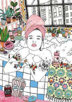 Art And Illustration, Valentines Illustration, Graphic Design Illustration, Bath Art, Poster Prints, Art Prints, Graphic Design Posters, Art Store, Jaba