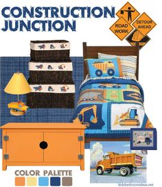 construction bedroom idea in blue and orange. Really like thew colour palette construction bedroom idea in blue and orange. Really like thew colour palette Big Boy Bedrooms, Kids Bedroom, Boys Construction Room, Construction Theme Bedroom, Truck Bedroom, Truck Nursery, Bedroom Themes, Bedroom Ideas, Bedroom Decor