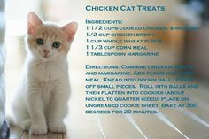 Homemade kitty treats possibly replace the wheat and corn meal with oat, barley or flax flour