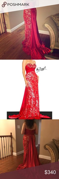 """MAC Duggal gown Such a gorgeous dress. Boning and build in cups for a great figure and to keep everything in place. Very heavy dress and with a long tail. Amazing dress. 59"""" from the highest point of the chest to bottom. Armpit to armpit 18"""". Hips 24"""". Waist 15 3/4. Model is not wearing heels and she is 5.4"""". Mac Duggal Dresses Prom"""