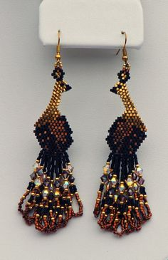 Items similar to Beadwoven Swarovski Peacock Earrings ( some gold plated beads) Beadwork Peacock Crystal Dangle earrings on gold filled ear wires on Etsy Seed Bead Jewelry, Bead Jewellery, Seed Bead Earrings, Beaded Earrings, Crochet Earrings, Bead Embroidery Patterns, Beaded Jewelry Patterns, Seed Bead Patterns, Beading Patterns