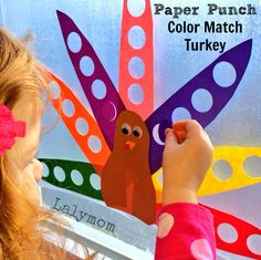 Thanksgiving Themed Turkey Feather Color Match Fine Motor Skills Activity for Kids from Lalymom