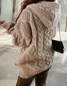 Korean fashion winter · khaki geometric collar with hat loose wool cardigans hooded sweater, wool cardigan, sweater coats Hooded Cardigan, Wool Cardigan, Sweater Jacket, Comfy Sweater, Chunky Sweaters, Sweater Weather, Cable Sweater, Loose Knit Sweaters, Big Sweater Outfit