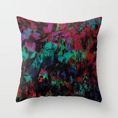 Flora Celeste Ruby Leaves Throw Pillow