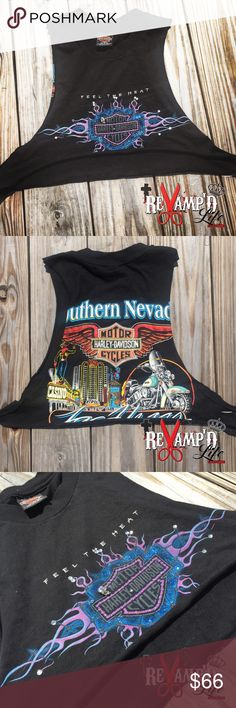 Custom sparkle bling Harley Davidson muscle tank ••• 🛍 Ask for bundles to save $$ ••• always accepting offers! 🛍 •••  • This custom Las Vegas HARLEY DAVIDSON mistake tank/tee crop top is one of a kind. Both the front & back are embellished with quite a bit of sparkles and bling. So beautiful. Very unique and custom. I'm sad to see it go!  • size: small  #harleydavidson #motorcycle #motorcycles #bikerchick #ollady #revamped #reconstructed #reworked #restyled #upcycled  #cutup #torn…