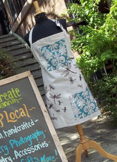 Dragonfly Apron  Organic Fabric Natural Robins Egg by retrofied, $36.00