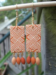 Polymer Clay Earrings  Terra Cotta by FlowertownOriginals on Etsy,