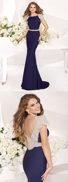 $189--Elegant Cap Sleeve Navy Blue Mermaid Prom Dresses 2014 Open Back Long Evening Gowns Vestido De Festa