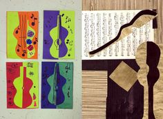 Elementary Picasso Lesson Positive and Negative Space guitar collage