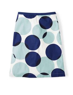 Boden Printed Cotton A-line Skirt WG578 Skirt in Blue Overlapping Spot
