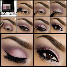 lid w/ primer and apply brown color in crease, apply pink on outer corners of lid, pat highlight color on middle of lid.  Apply same highlight to brow bone, apply two coats Lancôme ArtLiner in Noir for exaggerated darkness and precision.