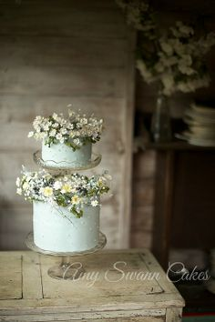 Amy Swann makes stunning handcrafted wedding cakes. She is known for her signature decorative floral wedding cakes. Daisy Wedding Cakes, Daisy Cakes, Wedding Cake Rustic, Rustic Cake, Wedding Bouquet, Gorgeous Cakes, Pretty Cakes, Bolo Nacked, Floral Cake