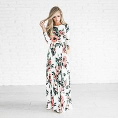 Printed Floral Boho Three Quarter Sleeve Empire Long Maxi Dress ($52) found on Polyvore featuring women's fashion, dresses, boho dresses, floral dresses, white dress, boho maxi dress and bohemian maxi dress