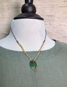 Opal, Beaded Necklace, Etsy Shop, Sterling Silver, Chain, Yellow, Pendant, Green, Handmade