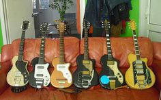 modified 1955 Supro Dual Tone (with new pickguard and one 1960s Valco pickup), 1955 Harmony Stratotone Doublet H88, 1953 Harmony Stratotone H44, c1959? unbranded black Valco, 1958 Valco-made Silvertone Artist, 1960 Valco-made Airline 7219