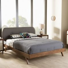 Baxton Studio Pandora Mid-Century Modern Upholstered Platform Bed | Overstock.com Shopping - The Best Deals on Beds