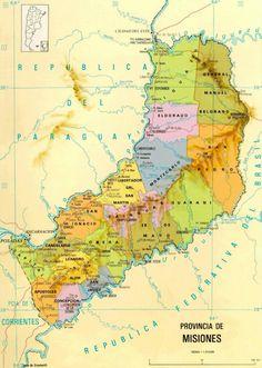 Mapa fisico de la provincia de Misiones -Argentina