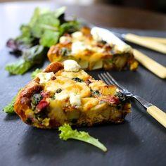 Potato, Spinach & Cheese Frittata. A quick, simple, delicious dish that works for breakfast lunch or dinner. Gluten Free