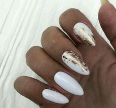 Milky nails with golden details Inspirational women # fashionaccessories . - Milky nails with golden details Inspirational ladies # fashionaccessories - Elegant Nails, Classy Nails, Cute Nails, Nail Manicure, Nail Polish, Milky Nails, White Nails With Gold, Gold Nail Designs, Party Nails