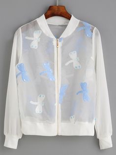 White Dragonfly Embroidered Organza Bomber Jacket INR) ❤ liked on… Embroidered Bomber Jacket, Organza, Summer Jacket, Sportswear, Cool Outfits, Outerwear Jackets, Bomber Jackets, Clothes, Vans Men