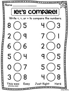Greater Than, Less Than, Equal To | Worksheets, Math and Google search