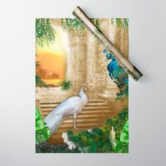 Golden Royal Peacock Temple Dreams Wrapping Paper by justkidding #WrappingPaper #graphicdesign #tropical #peacocks #greenery #plants