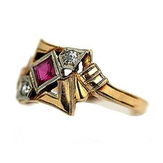 Art Deco  Synthetic Ruby and  Diamond  Ring