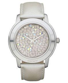 DKNY Watch, Women's Warm Gray Leather Strap 44mm NY8477 - Women's Watches - Jewelry & Watches - Macy's