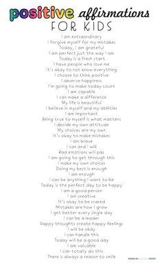 Positive Affirmations for Kids - Positive Affirmations for Kids – Positive Mindset, Positive Life – Learn why positive affirmatio - Positive Quotes For Life Encouragement, Positive Quotes For Life Happiness, Positive Affirmations For Kids, Affirmations Positives, Quotes Positive, Gratitude Quotes, Positive Thoughts, Discipline Quotes, Positive Discipline