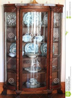 Antique China Cabinets | Antique Wooden China Cabinet built and used at  early twentieth century .