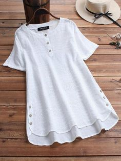 Gracila Bohemian Embroideried Short Sleeve Button Blouse look not only special, but also they always show ladies' glamour perfectly and bring surprise. Come to NewChic to choose the best one for yourself! Loose Shirts, Long Sleeve Shirts, Cheap Blouses, Embroidered Shorts, Blouse Vintage, Plus Size Blouses, Mode Style, Sleeves, Outfits
