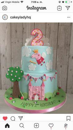 Birthday Drip Cake, Peppa Pig Birthday Cake, 1st Birthday Party For Girls, 2nd Birthday, Bolo Da Peppa Pig, Character Cakes, Drip Cakes, Cakepops, Cute Cakes